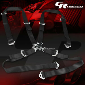 4 Point 2 Wide Black Strap Harness Safety Camlock Style Racing Seat Belt Bolts