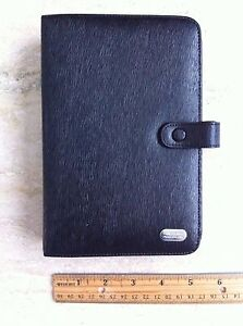 Piquadro Black Leather Organizer Agenda Planner With Accessories