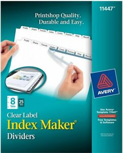 Avery Index Maker Clear Label Dividers 8 tab Letter Size 25 Sets