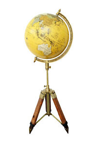 Antique Finish Nautical 12 World Globe With Leather Stand Home Decorative Gift
