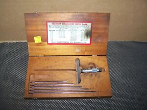 Old Vintage Starrett 440 Depth Gauge Set W Wood Case