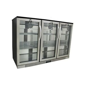 54 Wide 3 door Stainless Steel Back Bar Beverage Cooler Counter Height