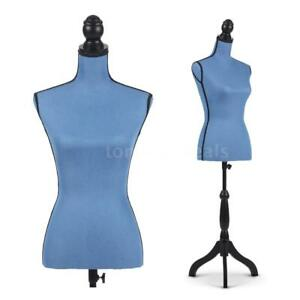 Height Adjustable Dress Form Female Mannequin Torso Dressmaker Stand Blue W3l8
