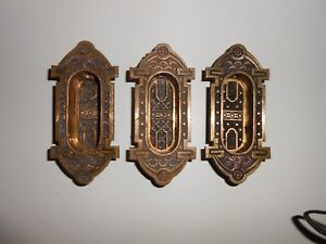 Antique Eastlake Sash Lifts Heavy Brass Patent Date 1884 Set Of 3