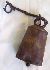 Antique Country Primitive Hand Forged Riveted Cow Bell And Hand Forged Horse Bit