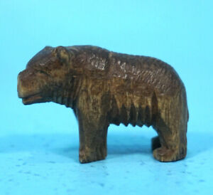 1 Antique Swiss Black Forest Wood Carving Bear Hunt Motif C1900 Brienz