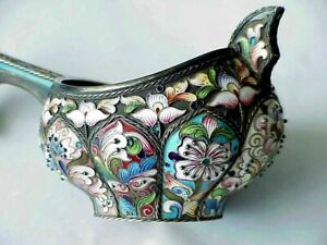 18c Antique Russian Royal Imperial 88 Silver Enamel Kovsh Bowl Spoon Bucket