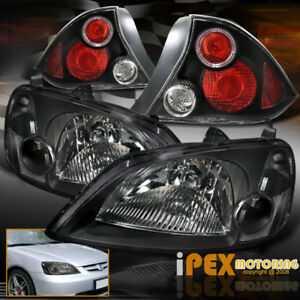 For 01 02 03 Honda Civic 2dr Coupe Jdm Black Headlights W Led Halo Tail Light
