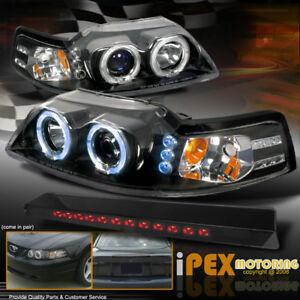1999 2004 Ford Mustang Halo Projector Black Headlights Led Third Brake Lights