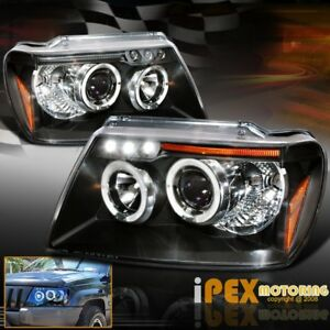 New For 1999 2004 Jeep Grand Cherokee Dual Halo Projector Led Headlights Black