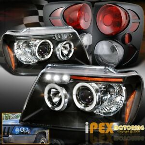 1999 2004 Jeep Grand Cherokee Halo Led Projector Headlights Tail Lights Black
