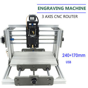 Diy Cnc 2417 Router Usb Metal Engraver Kit Desktop Pcb Wood Milling Machine Usa