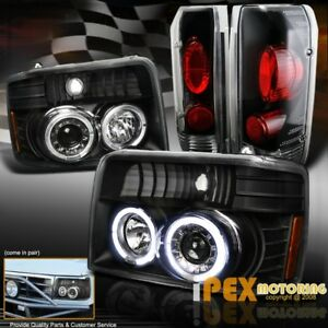 1992 1996 Ford F150 F250 Bronce Halo Projector Black Headlights Tail Lights