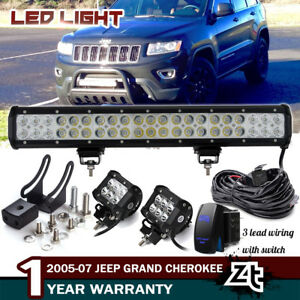 20 Led Light Bar For Jeep Grand Cherokee Commander Front Bull Bar Bumper Grill
