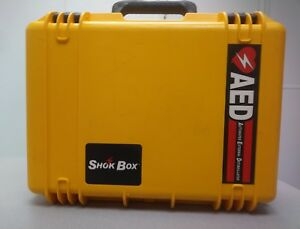Aed Shok Box Water Tight Yellow Hard Carrying Case cardiac Science defibtech