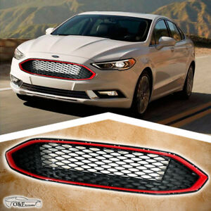 2017 2018 Ford Fusion Front Grill Honeycomb Gloss Black Mesh Grille