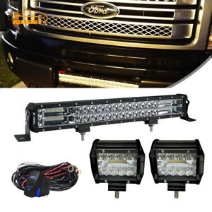 For 09 14 Ford F150 Lower Hidden Bumper Grille 126w 22 Led Light Bar pods wire