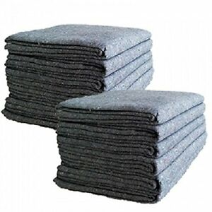 12 Pcs Textile Moving Blankets Lightweight Furniture Protector 54 x72 Pads Grey