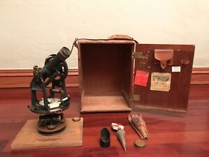 Vintage Keuffel Esser Survey Engineers Transit W Wood Case