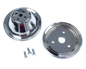 Sb Chevy Short Water Pump Chrome Steel 1 Groove Pulley Kit 283 327 350 V8