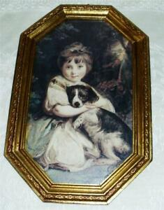 Vtg Print Gold Gilded Wood Picture Frame Sweet Girl W Dog Octagon Wooden Italy