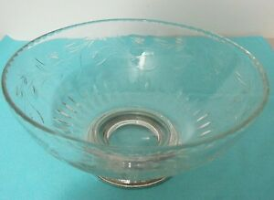 Beautiful Sterling Footed Wheel Cut Glass Bowl