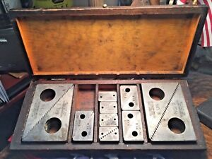 Vintage Tietzmann Machinists Step Block Kit no 1 2 3 Orig Wooden Box