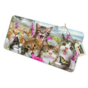 Cats And Butterflies Selfie Novelty Metal Vanity Tag License Plate