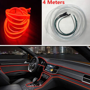 4m Car Interior Red Led Decor Lamp Optical Fiber Dash Trim Strip Moulding Light