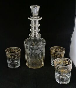 Antique Triple Ring Neck Decanter Grape Engraving 3 Tumblers With Gold Grapes