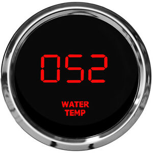 Led Digital Water Temperature Gauge W Sender Red Leds Chrome Bezel Dash Auto Us