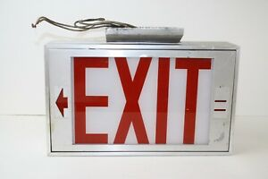 Vintage Halo Metal Exit Sign Red Glass Ceiling Mount Double Sided Untested