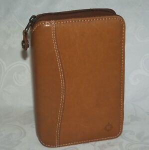 Franklin Covey Pocket Brown Leather Planner Binder Tan Spacemaker 1 Rings