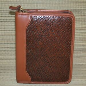 Franklin Covey Compact Embossed Woven Brown Leather Planner Binder Zipper 1 25