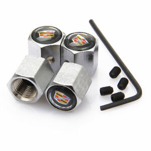 Car Anti theft Tire Valve Dust Stems Caps Covers Accessories Logo For Cadillac