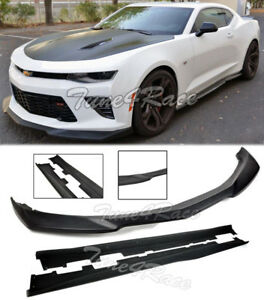 For 16 18 Camaro Ss Zl1 Style Primered Black Front Splitter With Side Skirts