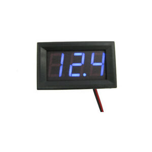 Car Blue Led 12 24v 2 Wired Dc Voltmeter Battery Monitor Indicator Dashboard