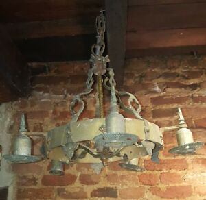 Antique Vintage Cast Iron Art Deco Ceiling Light Fixture Chandelier Project
