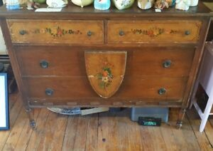Antique Original Painted Flowers Dresser Tongue In Groove Workmanship