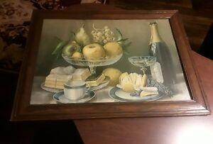 Vintage Table Setting Fruit Picture With Perfect Wooden Frame 23 1 4 X 17 1 8