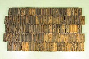 Antiquelatin Printing Wood Type 1 5 8 Inch Uppercase Numbers Letterpress Blocks