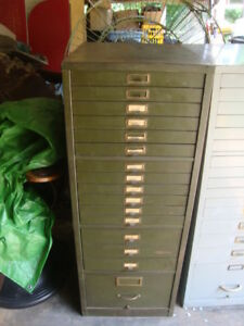 Vintage Green Metal 52 1 2 Map Flat File Cabinet 16 Drawer Industrial 1of 2