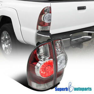 Fit 2005 2015 Toyota Tacoma X runner Red Clear Led Tail Brake Lights Lamps