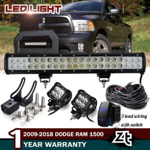 20 126w Led Light Bar For 09 18 Dodge Ram 1500 Front Bull Bar Bumper Grill Guard