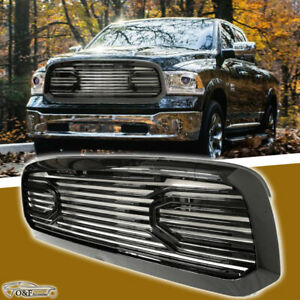 For 2013 2017 Ram 1500 Front Grill Laramie Big Horn Style Gloss Black Grille