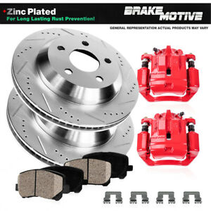 Rear Red Brake Calipers Brake Rotors Ceramic Pads For 2012 Ford Mustang Shelby