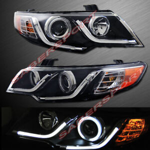 Set Of Pair Black Projector Headlights W Led Halo Rims For 2010 2013 Kia Forte