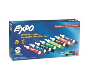 Expo Low Odor Dry Erase Markers Chisel Tip Assorted Colors 192 Count