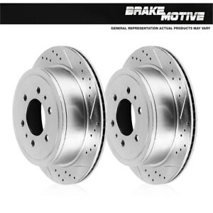 Rear Drilled Slotted Plated Brake Rotors Fit 2006 2007 2008 2009 Nissan Patrol