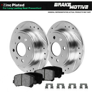 Rear Drill Slot Brake Rotors Metallic Pads For 2002 2003 2004 Ford Focus Svt